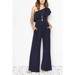 One Ruffle Shoulder Jumpsuit