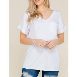 Short Sleeve Top W/ Front Pocket