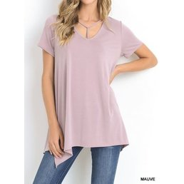 Short Sleeve Modal Top W/ Y-Strap Neck & Asymmetrical Hem