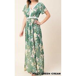 Floral Chiffon W/ Lace Trim Maxi Dress