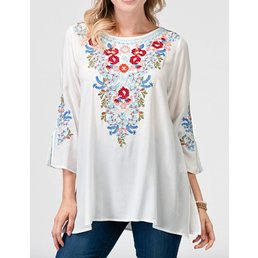 Half Sleeve Tunic Top W/ Floral Embroidery Details