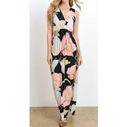 Floral Print Maxi Dress W/ Elastic Waist Band