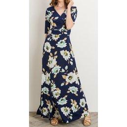 3/4 Sleeve Overlapped V Neckline Floral Maxi Dress