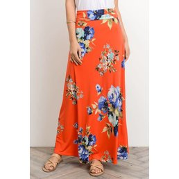 Vibrant Floral Print Long Maxi Skirt