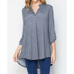 Blouse W/ Button Tab Sleeves