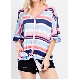 Stripe Button Down Ruffle Sleeve Top W/ Front Tie