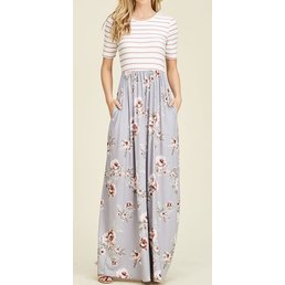 Fit & Flare Floral & Striped Maxi Dress