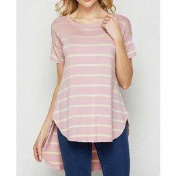 Short Sleeve Drop Shoulder Stripe Top