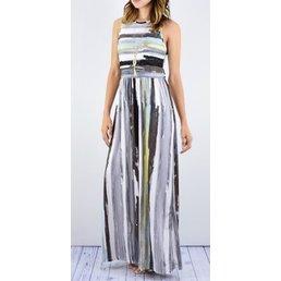 Sleeveless Stripe Maxi W/ Hidden Pockets
