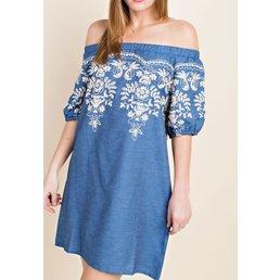 Elasticized Off The  Shoulder Embroidered Dress W/  Side Pockets