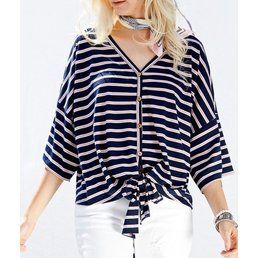 Jersey Stripe Button Up Top W/ Front Tie