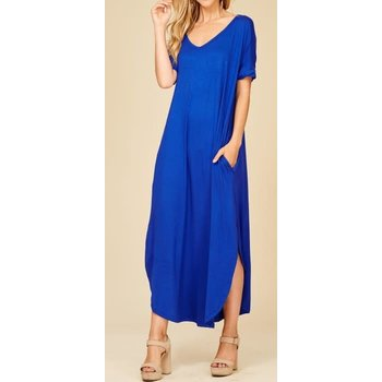 Roll Up Short Sleeve Maxi Dress W/ Side Slits & Pockets