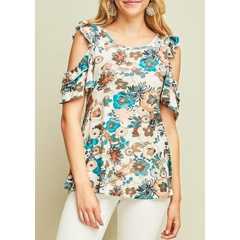 Floral Print Jersey Top W/ Open Ruffle Sleeves