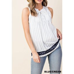 Sleeveless Lace Bottom Striped Top