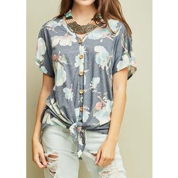 Floral V Neck Top W/ Wood Buttons & Knot Detail On Front