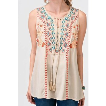 Sleeveless Top W/ Embroidery Detail & Tassel TIe Front