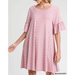 Striped Trumpet Sleeve Dress W/ Pockets