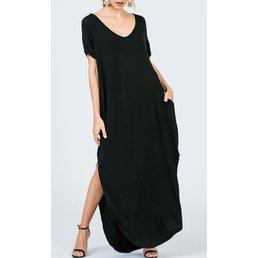 V Neck  Stretch Jersey Maxi Dress