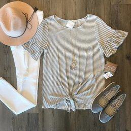 Striped Short Ruffle Sleeve Top W/ Tie Front