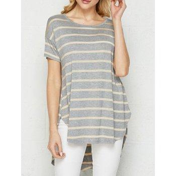 Short Sleeve Drop Shoulder Stripe Top; High Low Hem