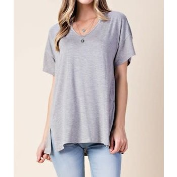 Short Sleeve Top W/ Side Slits