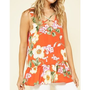 Sleeveless Top W/ Ruffle Hem
