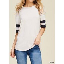 Short  Sleeve Top W/ Varsity Stripe