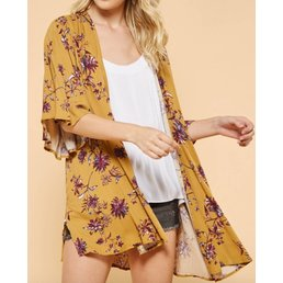 Floral Print Bell Sleeve Kimono