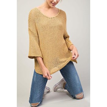 3/4 Wide Sleeve Scoop Neck Drop Shoulder Sweater