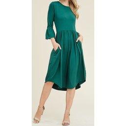 3/4 Ruffle Bell Sleeve Fit & Flare Dress W/ Round Hemline