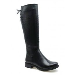 Knee High Boots W/ Perforated & Lace Detail