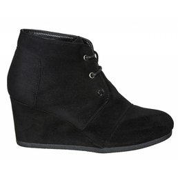 Faux Suede Wedge Heeled Lace Up Ankle Boot W/ Stitching Accents