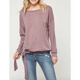 Long Sleeve Pullover W/ Front/Side Knot Detail & Banded Cuff