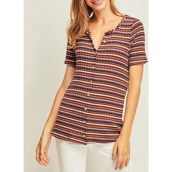 Short Sleeve Round Neck Stripe Top W/ Button Closure On Front