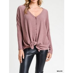 Long Sleeve Waffle Knit Button Up Top