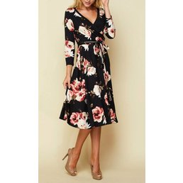 3/4 Sleeve Floral Dress