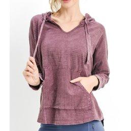 3/4 Sleeve Textured Hoodie Top