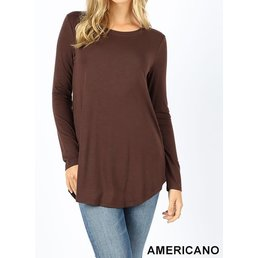 Round Neck Long Sleeve Top W/ Round Hem