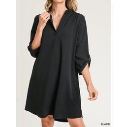 Collarless Dress W/ Roll-up Tab Sleeves
