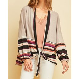 Puff Sleeve Striped Cardigan W/ Self Tie Closure At Front