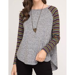 Multi Color Long Sleeve Stripe Sleeve Knit Top