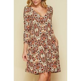 3/4 Sleeve V Neck Print Dress W/ Pockets