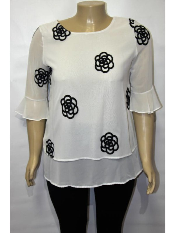 Vision White Top With Black Flowers