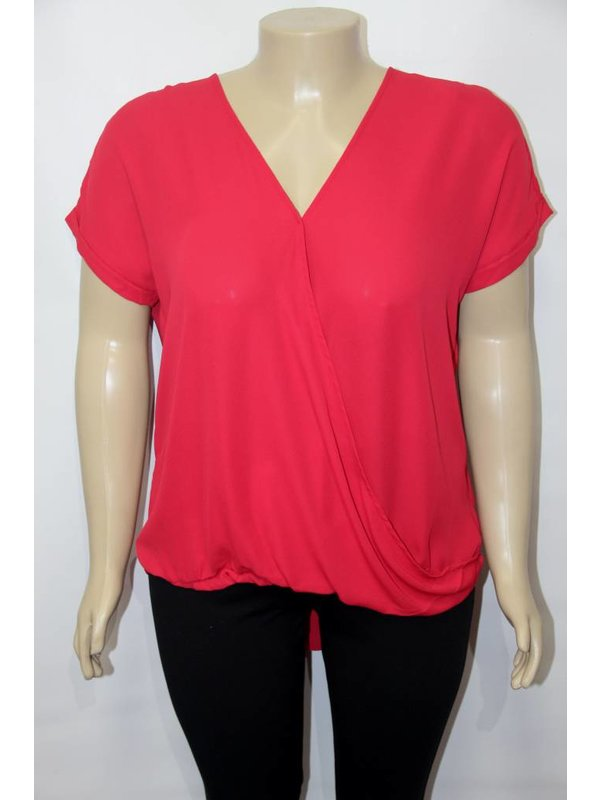 DNA Couture Plus Size Red Top With Overlap