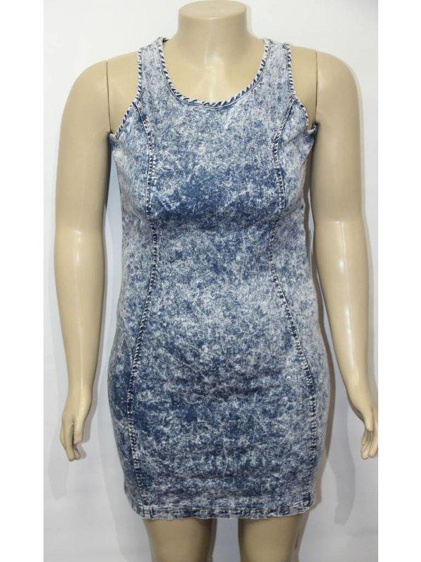 Zenobia Plus Size Denim Sleeveless Dress