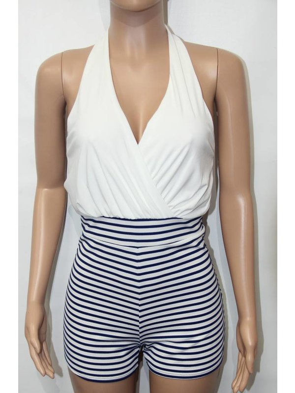 Janice White and Blue Stripes Romper