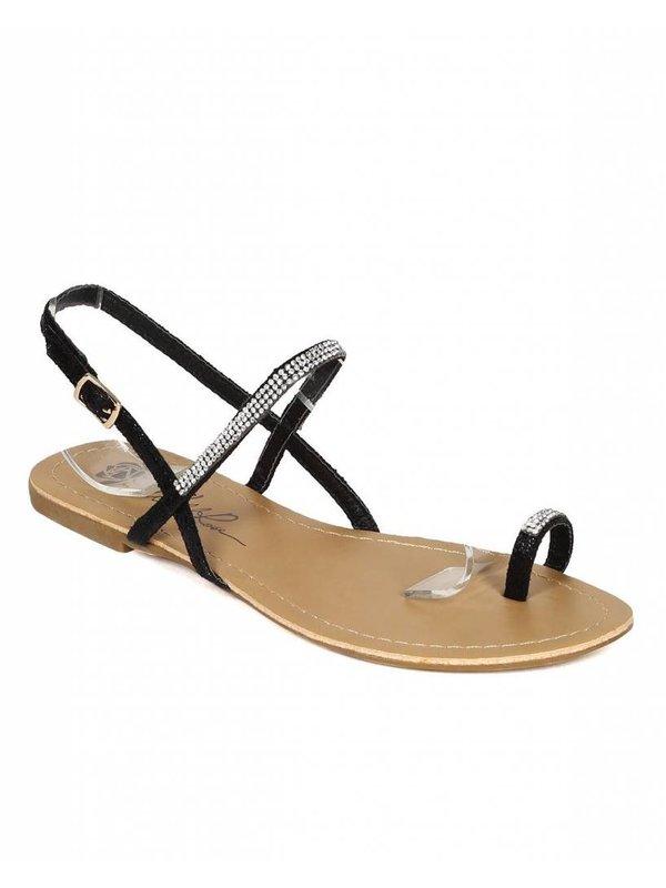 BLOOM-03 BLACK THONG SANDALS Size 10