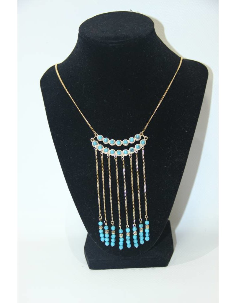 Fame Accessories Gold and Blue Necklace