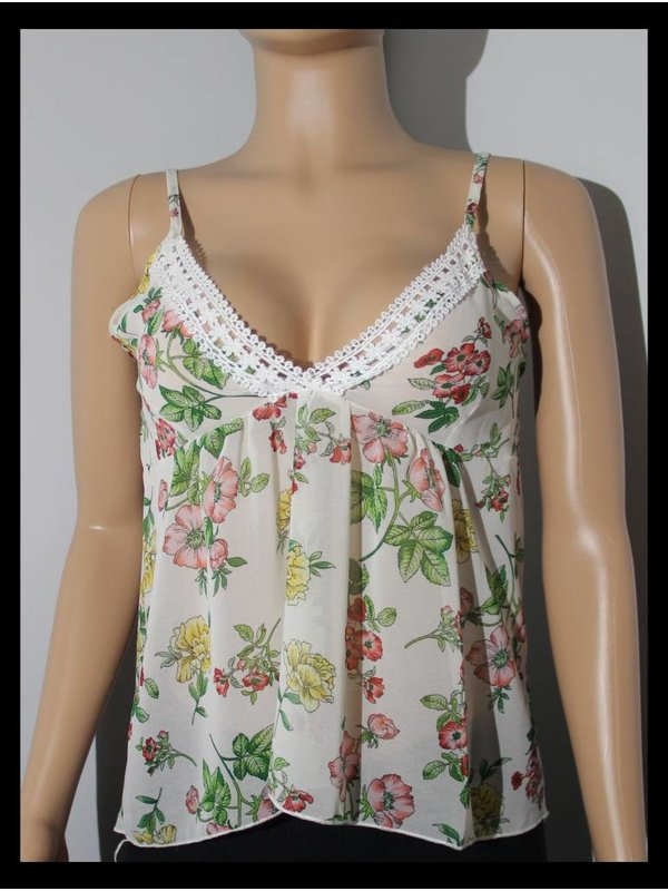 Ambiance Cream Floral See Top wt Embroider on neck line