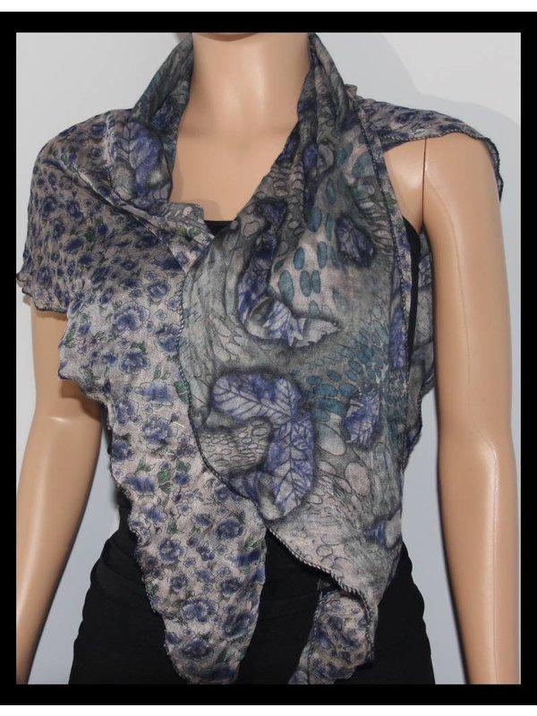 Chuns Fashion Blue & Green Flowers Scarf